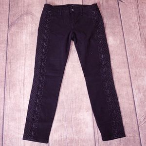Aritzia J Brand Black Embroidered Seam Jeans